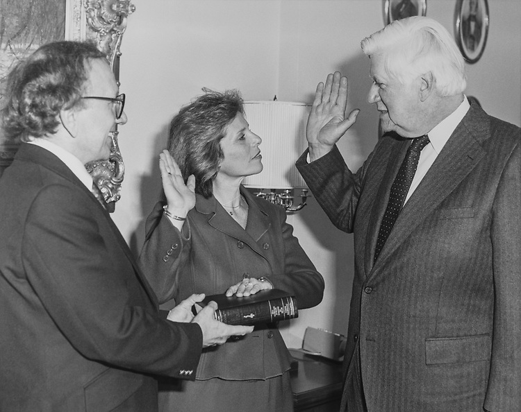 Rep. Marge Roukema, R-N.J., sworn in with husband Richard Roukema and Speaker Tip O'Neill, D-Mass. 1983 (Photo by CQ Roll Call via Getty Images)