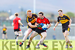 Johnny Buckley Dr Crokes tackles Tommy O'Sullivan Kenmare Shamrocks during their SFC QF in Fitzgerald Stadium on Sunday