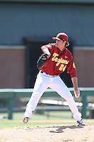 Kyle Twomey (24) of the Southern California Trojans pitches during a game against the Oregon Ducks at Dedeaux Field on April 18, 2015 in Los Angeles, California. Oregon defeated Southern California, 15-4. (Larry Goren/Four Seam Images)