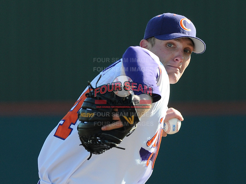 Starting pitcher Matthew Crownover (44) of the Clemson Tigers in a game against the Wofford Terriers on Wednesday, March 6, 2013, at Doug Kingsmore Stadium in Clemson, South Carolina. Clemson won, 9-2, with freshman Crownover picking up his first win.  (Tom Priddy/Four Seam Images)