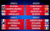 1st December 2017, State Kremlin Palace, Moscow, Russia; The display boards show the drawn groups from A to D during the FIFA 2018 World Cup draw, at the State Kremlin Palace in Moscow, Russia, 01 December 2017. Group A includes Russua, Saudi Arabia, Egypt und Uruguay. Group B includes Portugal, Spain, Marocco and Iran. Group C includes France, Australia, Peru und Denmark. Group D includes Argentina, Iceland, Croatia and Nigeria.