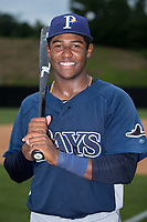 Princeton Rays outfielder Moises Gomez (21) poses for a photo prior to the game against the Danville Braves at American Legion Post 325 Field on June 25, 2017 in Danville, Virginia.  The Braves walked-off the Rays 7-6 in 11 innings.  (Brian Westerholt/Four Seam Images)