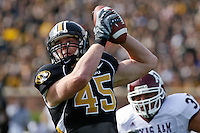 MU tight end Chase Coffman pulls down a pass during the first half against Texas A&M at Memorial Stadium in Columbia, Missouri on November 10, 2007. The Tigers won 40-26.
