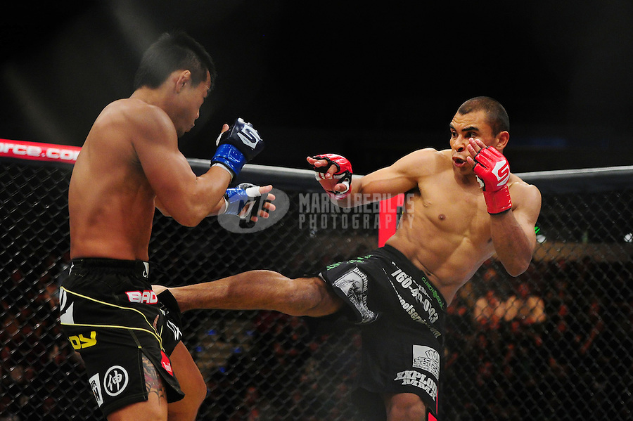 Apr. 9, 2011; San Diego, CA, USA; Strikeforce fighter Robert Peralta (right) against Hiroyuki Takaya during an undercard bout at the Valley View Casino Center.  Mandatory Credit: Mark J. Rebilas-