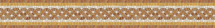 "5 1/4"" Roman Braid border, a hand-cut stone mosaic, shown in polished Giallo Reale, Rosa Verona, and Botticino."