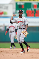 Indianapolis Indians second baseman Alen Hanson (7) during a game against the Rochester Red Wings on May 26, 2016 at Frontier Field in Rochester, New York.  Indianapolis defeated Rochester 5-2.  (Mike Janes/Four Seam Images)