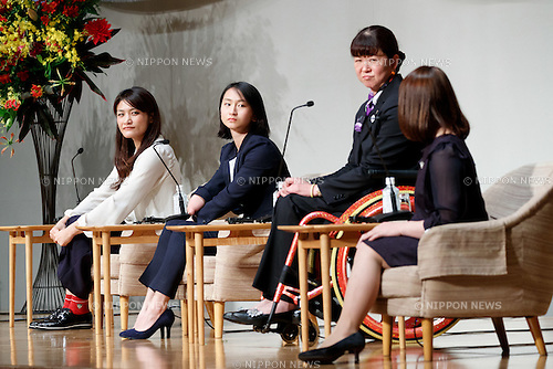 (L to R) Rio Olympic wrestling gold medalist Kaori Icho, Rio Paralympic track and field bronze medalist Sae Tsuji, Athens Paralympic swimming gold medalist Mayumi Narita and Rio Olympic weigh lifting bronze medalist Hiromi Miyake attend the World Assembly for Women : WAW! 2016 on December 13, 2016, Tokyo, Japan. Female leaders from politics, business, sports and society are attending WAW! 2016 to discuss the roles of women in their countries and affiliations. Japan is trying to increase the participation of women in work and Abe's administration set a goal of increasing the share of women in management roles to 30 percent by 2020. WAW! 2016 is being held from December 13 to 14 at the Grand Prince Hotel New Takanawa in Tokyo. (Photo by Rodrigo Reyes Marin/AFLO)