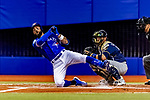 25 March 2019: Toronto Blue Jays outfielder Kevin Pillar falls after a hard swing at the plate during an exhibition game against the Milwaukee Brewers at Olympic Stadium in Montreal, Quebec, Canada. The Brewers defeated the Blue Jays 10-5 in the first of two MLB pre-season games in the former home of the Montreal Expos. Mandatory Credit: Ed Wolfstein Photo *** RAW (NEF) Image File Available ***