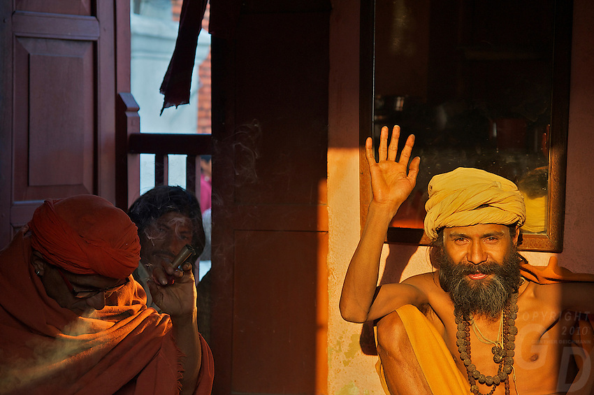 Sadu smoking marijuana Pashupatinath Cremation and Temple Area in Kathmadu, Nepal