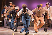 "16/10/2014. London, England. The Musical ""The Scottsboro Boys"" transfers after a successful run at the Young Vic to the Garrick Theatre in Charing Cross Road - for a limited 20-week season, from 4 October 2014. With Colman Domingo as Mr Bones, Forrest McClendon as Deputy Tambo, Julian Glover as The Interlocutor and Dawn Hope as The Lady. Music and lyrics by John Kander and Frank Ebb, book by David Thompson, direction and choreography by Susan Stroman."