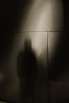The shadow of a man standing by a wall panel