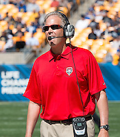 New Mexico head coach Bob Davie. The Pitt Panthers defeated the New Mexico Lobos 49-27 on Saturday, September 14, 2013 at Heinz Field, Pittsburgh, Pennsylvania.