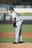 Coastal Carolina Chanticleers starting pitcher Zach McCambley (39) looks to his catcher for the sign against the Duke Blue Devils at Segra Stadium on November 2, 2019 in Fayetteville, North Carolina. (Brian Westerholt/Four Seam Images)