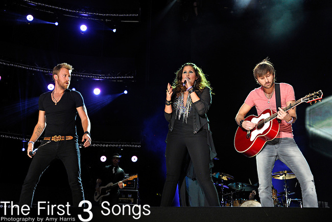 Charles Kelley, Hillary Scott, and Dave Haywood of Lady Antebellum perform at LP Field during the 2012 CMA Music Festival on June 07, 2011 in Nashville, Tennessee.