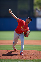 Palm Beach Cardinals starting pitcher Junior Fernandez (35) delivers a pitch during a game against the Charlotte Stone Crabs on April 12, 2017 at Charlotte Sports Park in Port Charlotte, Florida.  Palm Beach defeated Charlotte 8-7 in ten innings.  (Mike Janes/Four Seam Images)