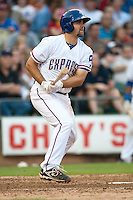 Round Rock Express third baseman Tommy Mendonca #24 during the MLB exhibition baseball game against the Texas Rangers on April 2, 2012 at the Dell Diamond in Round Rock, Texas. The Rangers out-slugged the Express 10-8. (Andrew Woolley / Four Seam Images).