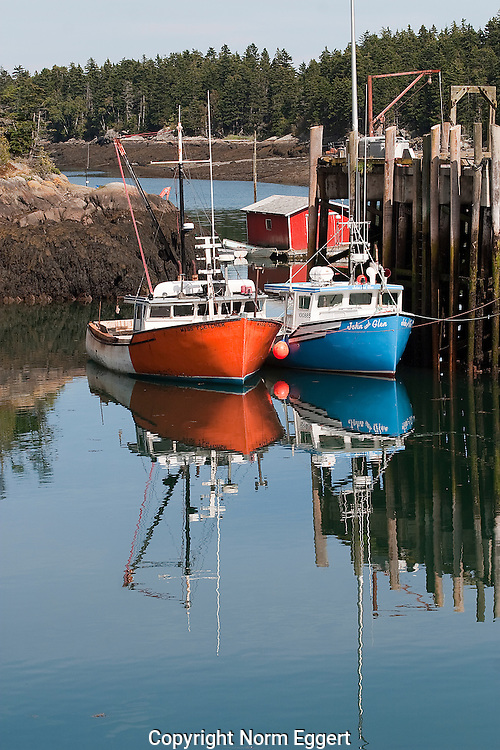 Two Fishing Boats Tied to a Dock at Head Harbor on Campobello Island, New Brunswick, Canada