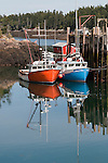 Two Fishing Boats Tied to a Dock at Head Harbor on Campobello Island, New Brunswick, Canada