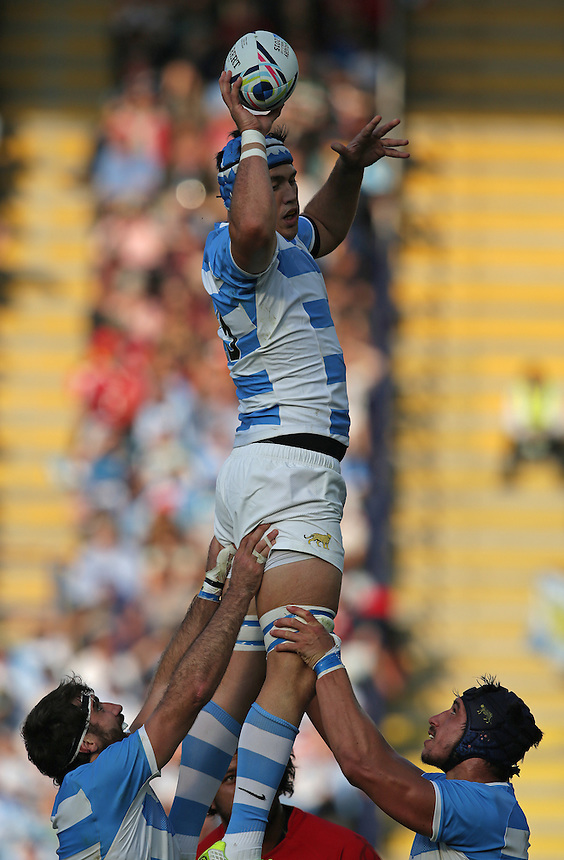 Argentina's Matias Alemanno wins a line out ball<br /> <br /> Photographer Stephen White/CameraSport<br /> <br /> Rugby Union - 2015 Rugby World Cup Pool C - Argentina v Tonga - Sunday 4th October 2015 - King Power Stadium - Leicester <br /> <br /> &copy; CameraSport - 43 Linden Ave. Countesthorpe. Leicester. England. LE8 5PG - Tel: +44 (0) 116 277 4147 - admin@camerasport.com - www.camerasport.com