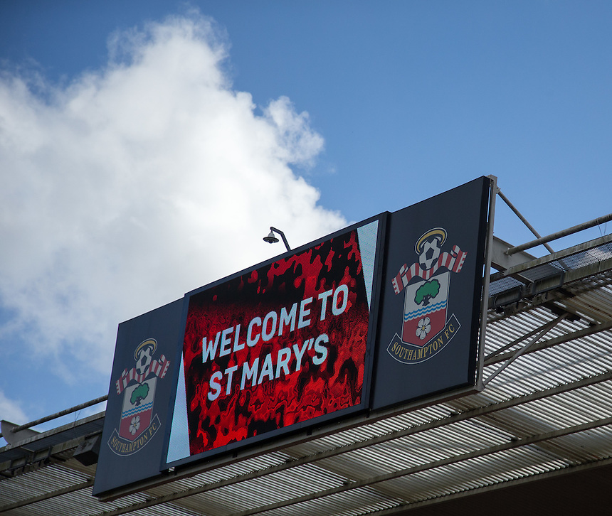 A giant screen at St Mary's stadium as the sun shines down on the ground<br /> <br /> Photographer James Williamson/CameraSport<br /> <br /> The Premier League - Southampton v Burnley - Sunday 16th October 2016 - St Mary's Stadium - Southampton<br /> <br /> World Copyright &copy; 2016 CameraSport. All rights reserved. 43 Linden Ave. Countesthorpe. Leicester. England. LE8 5PG - Tel: +44 (0) 116 277 4147 - admin@camerasport.com - www.camerasport.com