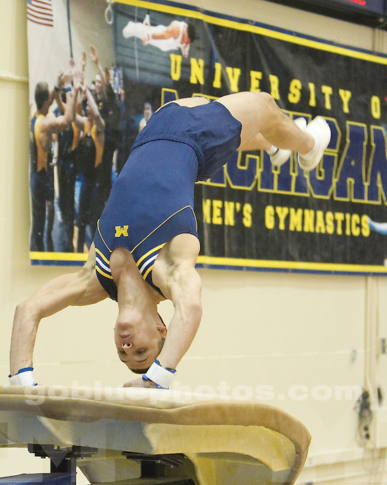 University of Michigan men's gymnastics Maize and Blue Intrasquad competition (Maize over Blue 248.500-247.150) at Cliff Keen Arena in Ann Arbor, MI, December 10, 2010.
