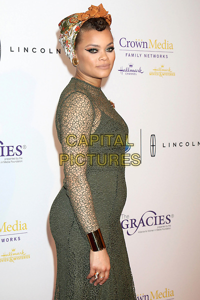 LOS ANGELES - MAY 24:  Andra Day at the 41st Annual Gracie Awards Gala at Beverly Wilshire Hotel on May 24, 2016 in Beverly Hills, CA. <br /> CAP/MPI/DE<br /> &copy;DE/MPI/Capital Pictures