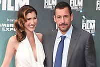 "Adam Sandler and wife,Jackie<br /> arriving for the London Film Festival 2017 screening of ""The Meyerowitz Stories"" at the Embankment Gardens Cinema, London<br /> <br /> <br /> ©Ash Knotek  D3319  06/10/2017"