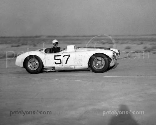 John Fitch in winning Cunningham C-4R co-driven by Phil Walters in 1953 Sebring 12-hour race; photo by Ozzie Lyons / © Pete Lyons www.petelyons.com