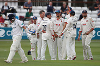 Peter Siddle of Essex celebrates with his team mates after taking the wicket of Tim Ambrose during Essex CCC vs Warwickshire CCC, Specsavers County Championship Division 1 Cricket at The Cloudfm County Ground on 14th July 2019