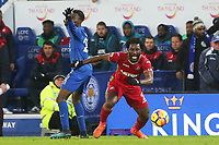 Wilfried Bony of Swansea chases the loose ball during the Premier League match between Leicester City and Swansea City at the King Power Stadium, Leicester, England, UK. Saturday 03 February 2018