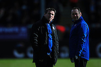 Bath Rugby Head Coach Mike Ford and first team coach Darren Edwards look on during the pre-match warm-up. Aviva Premiership match, between Exeter Chiefs and Bath Rugby on February 28, 2016 at Sandy Park in Exeter, England. Photo by: Patrick Khachfe / Onside Images