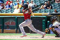 Hector Gomez (14) of the Nashville Sounds at bat against the Salt Lake Bees in Pacific Coast League action at Smith's Ballpark on June 22, 2014 in Salt Lake City, Utah.  (Stephen Smith/Four Seam Images)