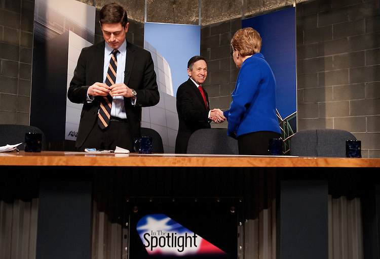 UNITED STATES - FEBRUARY 13:  From left, candidate Graham Veysey, Rep. Marcy Kaptur, D-Ohio, and Rep. Dennis Kucinich, D-Ohio, arrive for a candidate debate hosted by Time Warner Cable and moderated by Bob Conklin in Cleveland, Ohio.  Democrats Kaptur, Kucinich and Veysey are running for the OH-09 seat after the state lost two seats due to reapportionment.  (Photo By Tom Williams/CQ Roll Call)