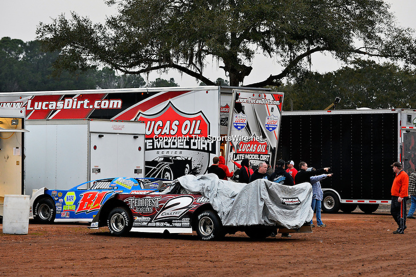 Feb 06, 2014; 6:56:25 PM; Waynesville, GA., USA; The Lucas Oil Late Model Dirt Series running The Georgia Boot Super Bowl of Racing at Golden Isles Speedway.  Mandatory Credit: (thesportswire.net)
