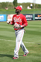 Brandon Phillips #4 of the Cincinnati Reds plays against the Los Angeles Angels in a spring training game at Tempe Diablo Stadium on March 1, 2011  in Tempe, Arizona. .Photo by:  Bill Mitchell/Four Seam Images.