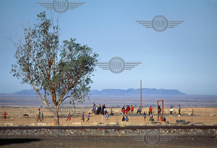 Children playing football in Grunau.