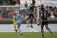 Christie Rampone challenges Marta for a header. Los Angeles Sol defeated Sky Blue 2-0 in Bridgewater, NJ on Sunday, April 5, 2009. Photo by Robyn McNeil/isiphotos.com