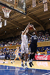 02 January 2014: Duke's Haley Peters (33) blocks a shot by ODU's Odegua Oigbokie (34). The Duke University Blue Devils played the Old Dominion University Lady Monarchs in an NCAA Division I women's basketball game at Cameron Indoor Stadium in Durham, North Carolina. Duke won the game 87-63.