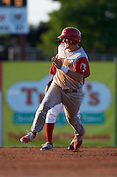 Williamsport Crosscutters catcher Austin Bossart (47) running the bases during a game against the Batavia Muckdogs on July 15, 2015 at Dwyer Stadium in Batavia, New York.  Williamsport defeated Batavia 6-5.  (Mike Janes/Four Seam Images)