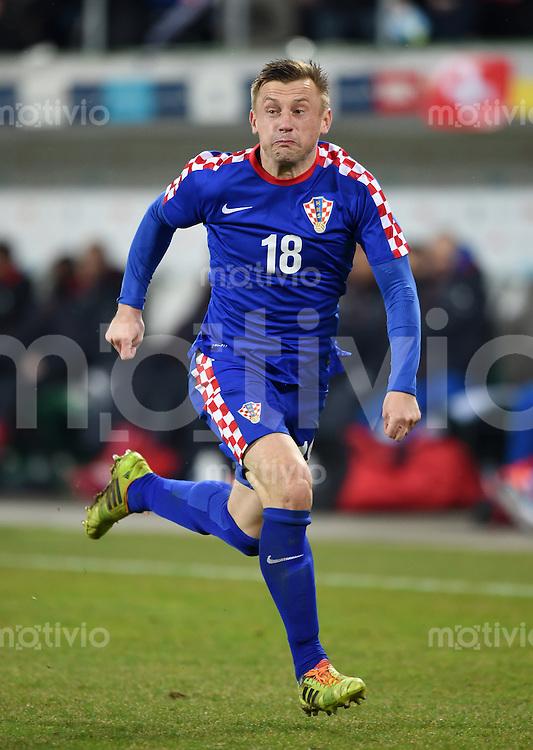 FUSSBALL INTERNATIONALES TESTSPIEL in Sankt Gallen Schweiz - Kroatien       05.03.2014 Ivica Olic (Kroatien)