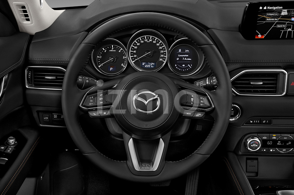Car pictures of steering wheel view of a 2017 Mazda CX-5 Grand Touring 5 Door SUV
