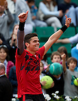 France, Paris, 01.06.2014. Tennis, French Open,Roland Garros,  Milos Raonic (CAN) screams it out after defeating Marcel Granollers (ESP)<br /> Photo:Tennisimages/Henk Koster