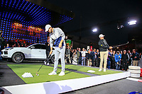 Max Smidt (GER) and Bernd Wiesberger (AUT) at the Porsche Urban Golf Challenge in the Reeperbahn the famous Red light district in Hamburg ahead of the Porsche European Open at Green Eagles Golf Club, Luhdorf, Winsen, Germany. 03/09/2019.<br /> Picture Fran Caffrey / Golffile.ie<br /> <br /> All photo usage must carry mandatory copyright credit (© Golffile | Fran Caffrey)