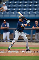 Montgomery Biscuits Brett Sullivan (8) at bat during a Southern League game against the Biloxi Shuckers on May 8, 2019 at MGM Park in Biloxi, Mississippi.  Biloxi defeated Montgomery 4-2.  (Mike Janes/Four Seam Images)