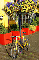 Yellow bicycle and hanging flowers. Granville Island, Vancouver, British Columbia, Canada