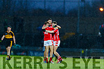 David Clifford, celebrates with Niall Donohue and Padraig De Brun, East Kerry after the Kerry County Senior Club Football Championship Final match between East Kerry and Dr. Crokes at Austin Stack Park in Tralee, Kerry.