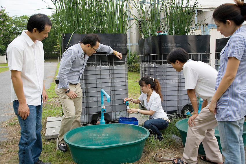 Thailand. Town of Klong Luang. Asian Institute of Technology (AIT). Environmental research center. Lab scale experiments of constructed wetlands. Vertical flow. Dr, Thammarat Koottatep (Second L), university teacher, checks with his PhD students the effluent water of constructed wetlands.The university's researchs are linked with the project in the village of Lai Xa, Vietnam, where a small-scale wastewater management project is a sucessful decentralized sanitation implementation. The researchs are sponsored by the following swiss institutions, National Centre of Competence in Research North-South (NCCR N-S), Swiss Agency for Development and Cooperation (SDC) and Eawag ( also called Sandec, a Swiss-based and internationally linked aquatic research institute committed to an ecological, economical and socially responsible management of water). The town of Klong Luang is distant 50 km from Bangkok. 31.03.09  © 2009 Didier Ruef