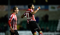 Lincoln City's Bruno Andrade, right, celebrates scoring his side's third goal with team-mate Harry Toffolo<br /> <br /> Photographer Chris Vaughan/CameraSport<br /> <br /> Emirates FA Cup First Round - Lincoln City v Northampton Town - Saturday 10th November 2018 - Sincil Bank - Lincoln<br />  <br /> World Copyright © 2018 CameraSport. All rights reserved. 43 Linden Ave. Countesthorpe. Leicester. England. LE8 5PG - Tel: +44 (0) 116 277 4147 - admin@camerasport.com - www.camerasport.com