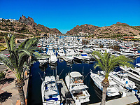 Aerial view of yacht pier, boats, palms, Tetakahui bay near the desert in San Carlos, Sonora, Mexico. Gulf of California. Sea of ​​Cort&eacute;s. Mar Bermejo, is located between the peninsula of Baja California and the states of Sonora and Sinaloa, northwest of Mexico. Tourist destination, trips. Blue, Boats, calm. High Angle View (Photo: Luis Gutierrez / NortePhoto.com)<br /> ......<br /> Vista aerea de embarcadero de yates, barcos, palmas, bahia cerro Tetakahui junto al desierto en San Carlos, Sonora, Mexico. Golfo de California. mar de Cort&eacute;s​. mar Bermejo, se  ubica entre la pen&iacute;nsula de Baja California y los estados de Sonora y Sinaloa, al noroeste de M&eacute;xico. Destino turistico, viajes. Azul, Barcos, calma. High Angle View  (Photo: Luis Gutierrez / NortePhoto.com)
