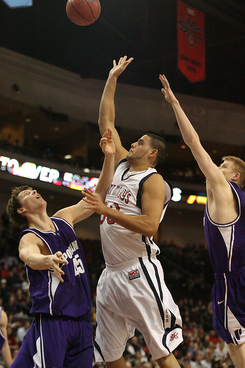 LAS VEGAS, NV - MARCH 7:  Omar Samhan during the Saint Mary's Gaels 69-55 win over the Portland Pilots in the WCC Basketball Tournament on March 7, 2010 at Orleans Arena in Las Vegas Nevada.